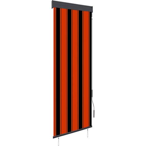 Estor enrollable de exterior naranja y marrón 60x250 cm