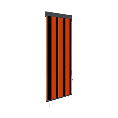Estor enrollable de exterior naranja y marron 60x250 cm