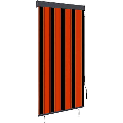 Estor enrollable de exterior naranja y marrón 80x250 cm
