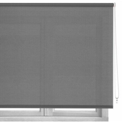 Estor enrollable gris de tela de 140x180 cm