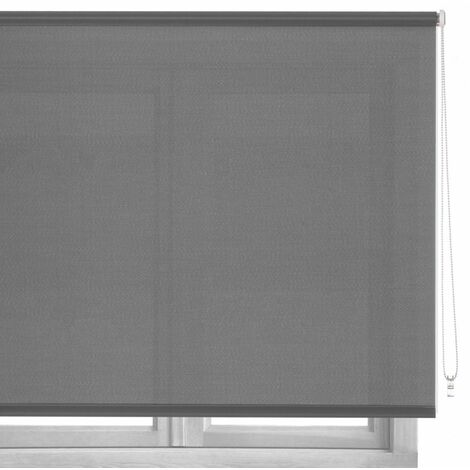 Estor enrollable gris de tela de 80x250 cm