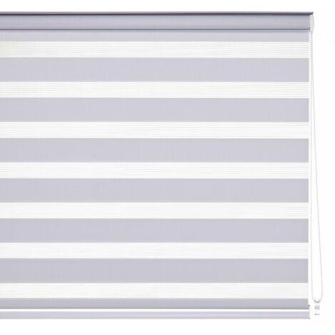 Estor enrollable noche y día blanco de tela de 80x250 cm