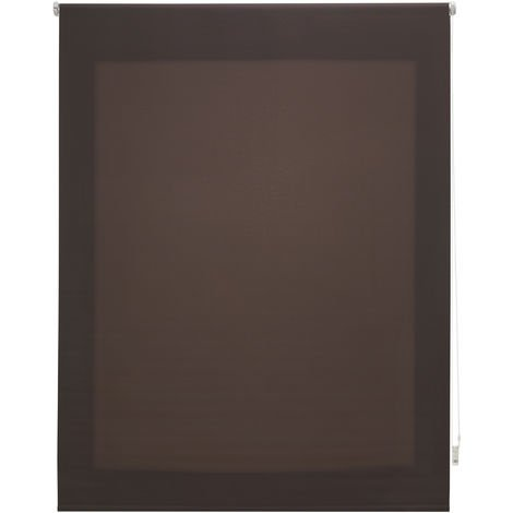 Estor enrollable traslúcido liso marrón grisáceo