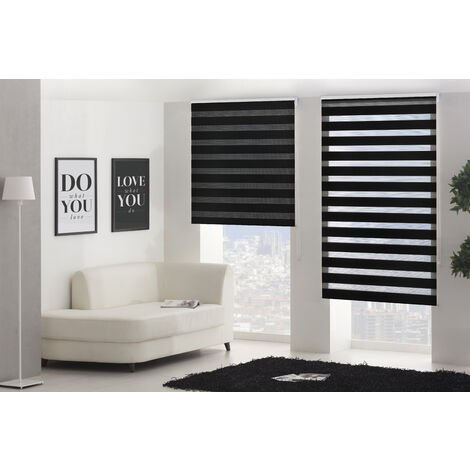 Estor Noche y Dia traslucido negro - 100x180 cm (ancho x alto)