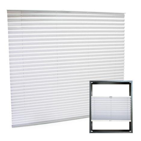 Estor plisado color blanco 110x150cm Persiana interior Cortina enrollable Celosía para ventana