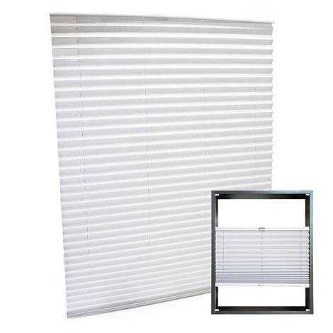 Estor plisado color blanco 85x150cm Persiana interior Cortina enrollable Celosía para ventana