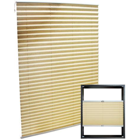 Estor plisado color crema 45x150cm Persiana interior Cortina enrollable Celosía para ventana