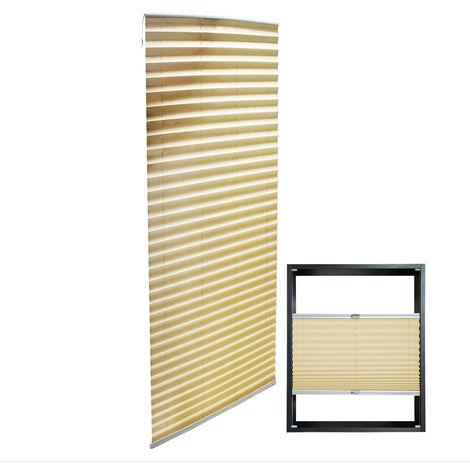 Estor plisado color crema 55x200cm Persiana interior Cortina enrollable Celosía para ventana
