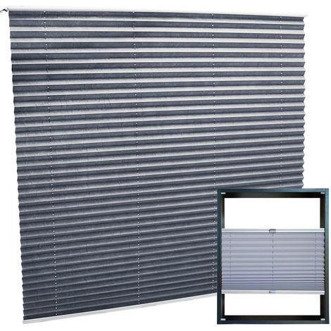 Estor plisado color gris 110x150cm Persiana interior Cortina enrollable Celosía para ventana