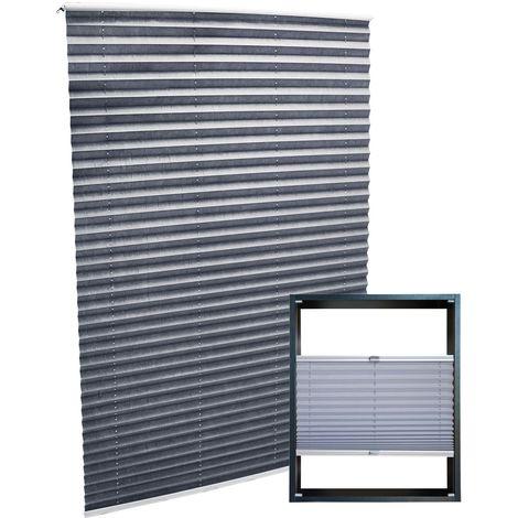 Estor plisado color gris 60x150cm Persiana interior Cortina enrollable Celosía para ventana