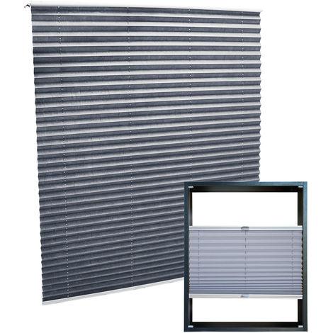 Estor plisado color gris 75x100cm Persiana interior Cortina enrollable Celosía para ventana