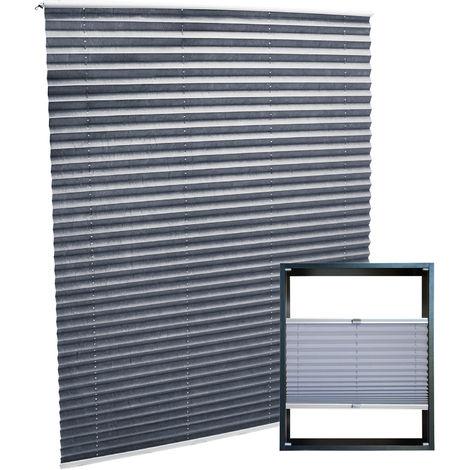 Estor plisado color gris 75x150cm Persiana interior Cortina enrollable Celosía para ventana