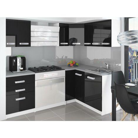 ESTRADA | Cuisine Complète d'angle + Modulaire L 300 cm 8 pcs | Plan de travail INCLUS | Ensemble armoires modernes cuisine - Noir