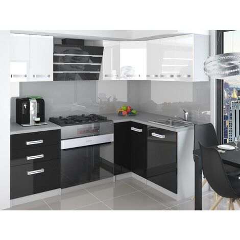 ESTRADA   Cuisine Complète d'angle + Modulaire L 300 cm 8pcs   Plan de travail INCLUS   Ensemble armoires meubles cuisine   Blanc-Noir
