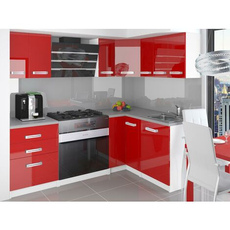 ESTRADA | Cuisine Complète d'angle + Modulaire L 300 cm 8pcs | Plan de travail INCLUS | Ensemble armoires modernes cuisine - Rouge