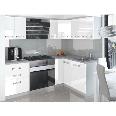 ESTRADA | Cuisine Complète d'angle + Modulaire L 300 cm 8pcs | Plan de travail INCLUS | Ensemble armoires placards cuisine | Blanc - Blanc