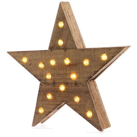 Estrella De Madera Con Luz 15 Leds 6X30X29Cm - NEOFERR