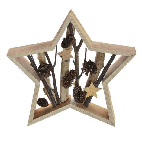 Estrella de Madera Navidad, para decoración Navideña. Diseño de Piñas y Estrellas. Original/Natural 30X5X30 cm.-Hogarymas-