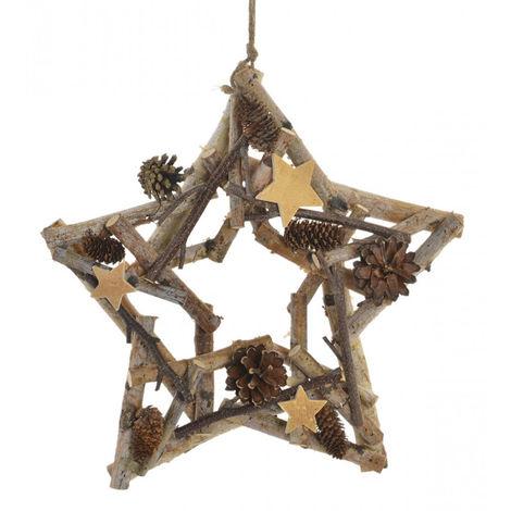 Estrella de Madera Navidad, para decoración Navideña. Diseño de Piñas y Estrellas. Original/Natural 34X7X34 cm.-Hogarymas-