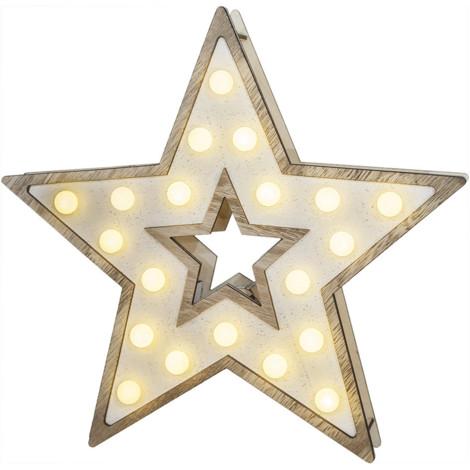 Estrella Madera 20Leds 25.5X27.2Cm 3Xaa - NEOFERR