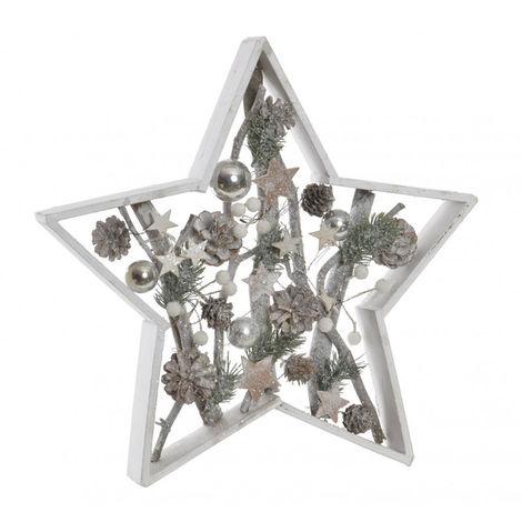 Estrella Navidad de Madera Natural, Decoración Navideña con Diseño Original de Piñas, estrellas y bolas. 40X5X40 cm.-Hogarymas-