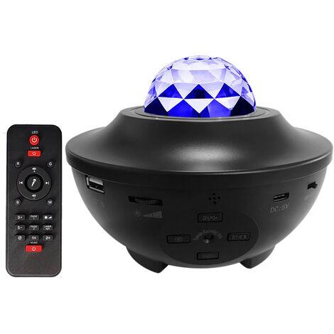 Estrellada proyector de luz de la lampara de noche LED con control remoto romantico iluminado por las estrellas de la lampara de proyeccion 3 niveles de brillo y 10 modos de iluminacion Soporte U-disco / Funcion del lector de tarjetas / BT reproductor de