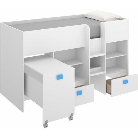 Estructura Cama tren con escritorio extraíble, dos cajones y estanterías 120 cm (alto) x 205 cm (ancho) x 107 cm (prof.) Azul