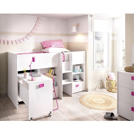 Estructura Cama tren escritorio extraíble, dos cajones y estanterías 120 cm (alto) x 205 cm (ancho) x 107 cm (prof.) Rosa
