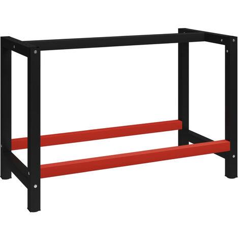 Estructura de banco de trabajo metal negro y rojo 120x57x79 cm