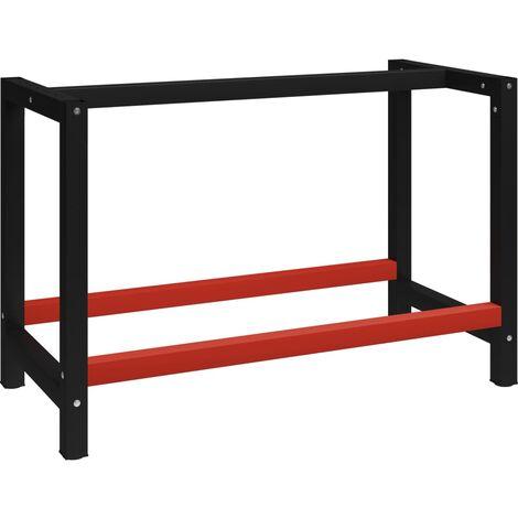 Estructura de banco de trabajo metal negro y rojo 120x57x79 cm - Negro