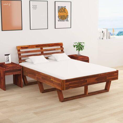 Estructura de cama con 2 mesitas de noche acacia 140x200 cm - Marrón