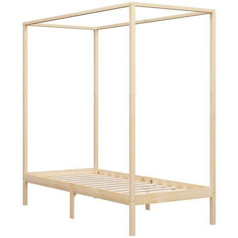 Estructura de cama con dosel madera maciza de pino 100x200 cm