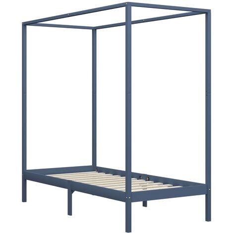 Estructura de cama con dosel madera maciza pino gris 90x200 cm