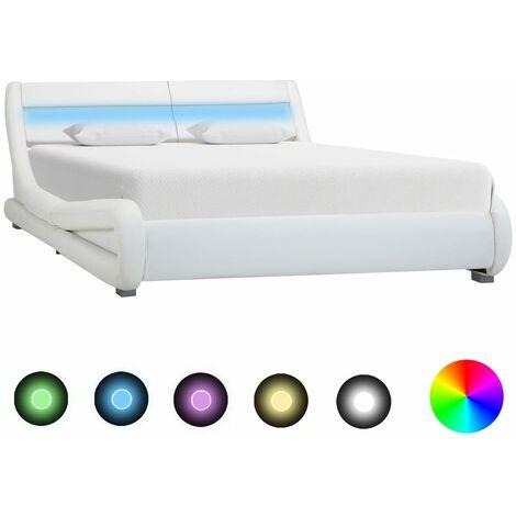Estructura de cama con LED cuero sintético blanco 120x200 cm