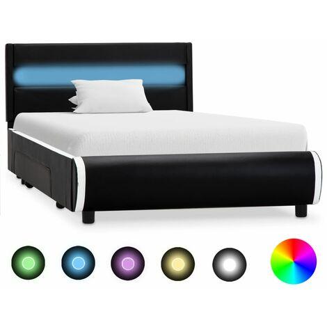 Estructura de cama con LED cuero sintético negro 90x200 cm - Negro