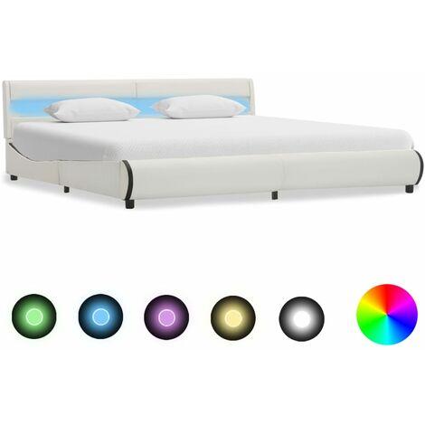 Estructura de cama con LED de cuero sintético blanco 180x200 cm