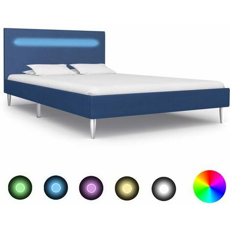 Estructura de cama con LED tela azul 120x200 cm - Azul