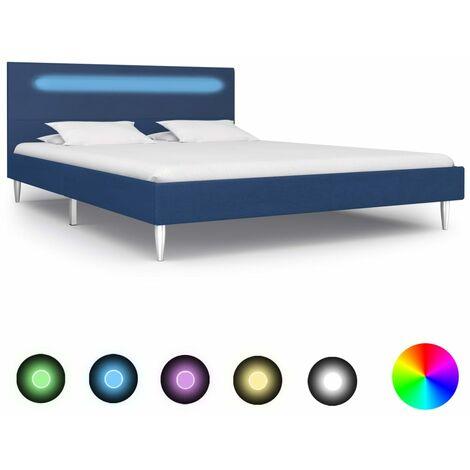Estructura de cama con LED tela azul 140x200 cm - Azul