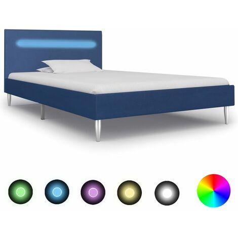 Estructura de cama con LED tela azul 90x200 cm - Azul
