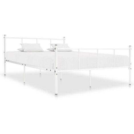 Estructura de cama de metal blanco 120x200 cm - Blanco