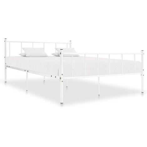 Estructura de cama de metal blanco 200x200 cm - Blanco