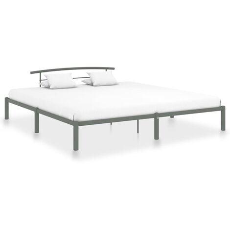 Estructura de cama de metal gris 200x200 cm - Gris