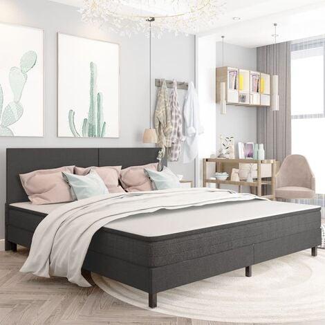 Estructura de cama de tela gris 200x200 cm - Gris