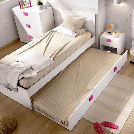 Estructuras Cama Nido infantil 2 camas ,moderna ideal para habitaciones infantiles y juveniles. Dimensiones: 76 cm (alto) x 96 cm (ancho) x 196 cm (prof.) ROSA
