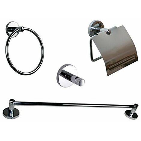 Estuche de 5 accesorios cromo para baño