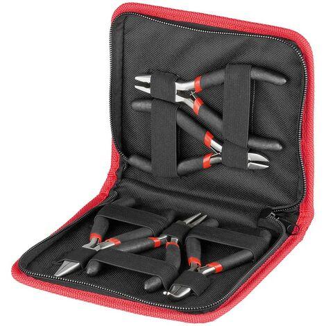 Estuche de 5 Alicates Modelos Planos de corte orquilla y aguja Fixpoint 77115