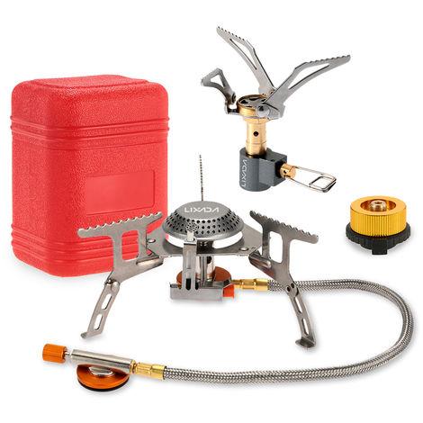 Estufa 3000W camping de utensilios de cocina plegable de bolsillo mini estufa de camping gas Quemador de Split con el adaptador de cabezal de conversion de gas, Campana y adaptador