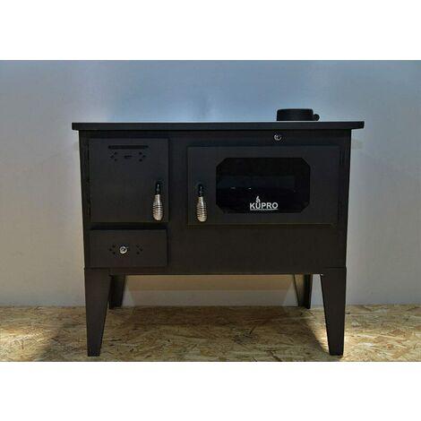 """Estufa de leña con horno, potencia de calentamiento de 7,5 kw, estufa de leña para cocinar, modelo """"Tangra with Legs"""""""