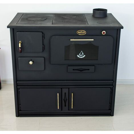 Estufa de leña con horno y cocinilla de hierro fundido Praktik Prometey 8 kW