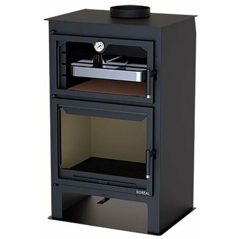 Estufa de leña con horno y leñero negra 10000W